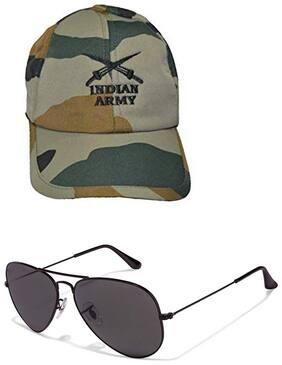 Hash Bhush Men's Army Design Cap With Free Aviator Sunglass