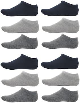 HashBean Men No Show Low Cut Loafer socks (4 Navy;4 Silver;4 Grey)