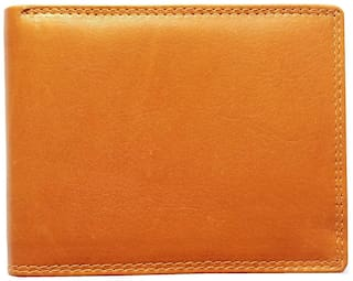 Heena Fashion Mens Genuine Leather Bi-Fold Flap Wallet With 9 Card Slot : Brown / Tan