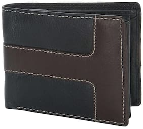 Hide & Hues Black Genuine Leather Wallet For Men