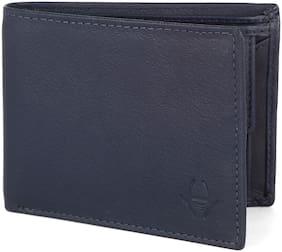 HideChief Men Navy blue Leather Bi-Fold Wallet ( Pack of 1 )