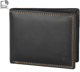 HideChief Men Black Leather Bi-Fold Wallet ( Pack of 1 )