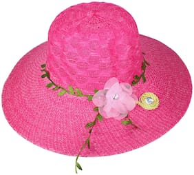Women Polyester Hats ( Pink )