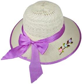 Women Polyester Hats ( White )