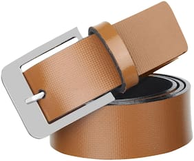 Hob London Fashion Tan Synthetic Leather Belt for Men