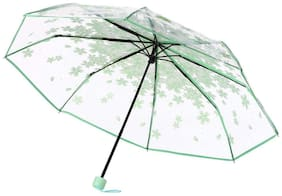 Home Story Luxury Collection UV Coated 3-Fold PVC Umbrella, 110 cm Mint Green Color