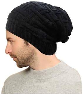 HOZIE Black Slouchy woolen Long Beanie Cap for Winter skull head Unisex Cap