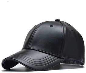 HOZIE Fashionable Look With Black Baseball Leather Cap