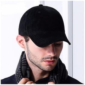 Hozie New Stylish Look With Solid Black Plain Cotton Baseball Cap