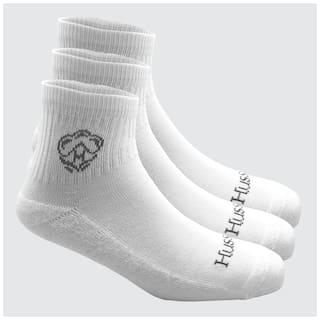 Husskinz White Cotton Ankle length socks ( Pack of 3 )