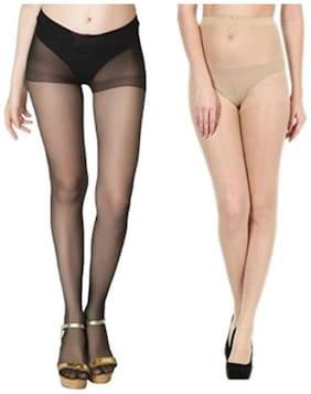 I Shop Girls & Women Black & Beige Color Stocking