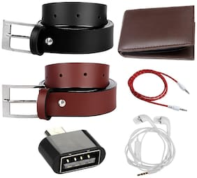 Imperior Black And Brown Premium Quality Belt With Brown Wallet And Get Aux Cable;OTG Adapter And Without Mic Earphone Free
