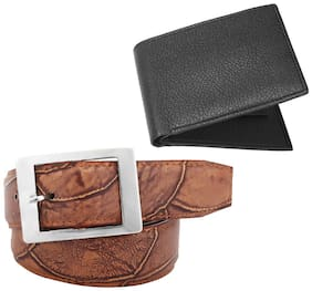 Imperior Combo of Stylish Dark Multi Texture Belt For Men With Black Wallet
