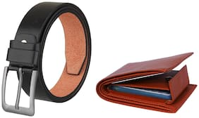 Imperior Combo of Black PU Belt And Get PU Leather Wallet Free