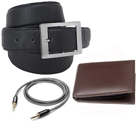 Imperior Combo of Stylish Black Texture Belt For Men With Brown Wallet and Aux Cable
