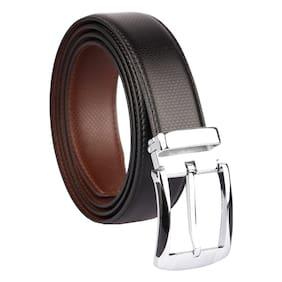 Imperior Formal Black-Brown Reversible Rotating Buckle Belt For Men