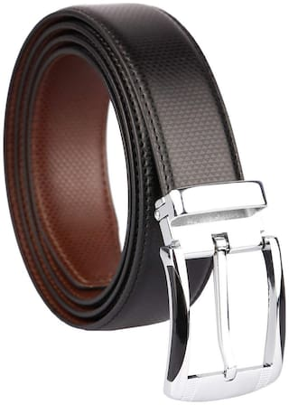 Imperior Formal Black-Brown Reversible Rotating Buckle Belt For Men