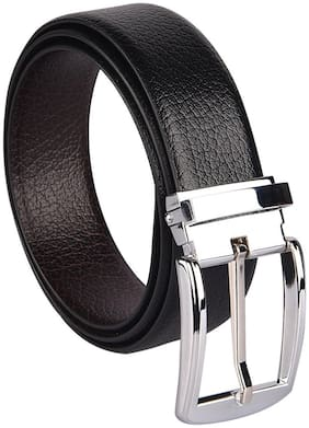 Imperior Stylish And Elegant Black-Brown Reversible Rotating Buckle Belt For Men