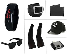 Imperior Stylish Belt And Get Led Band;Wallet;Sunglass;Arm Sleeves;Black Cap And OTG Free