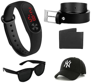 Imperior Stylish Black Belt And Get Silicone Led Watch;Wallet;Sunglass And Cap Free