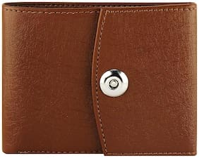 Imperior Stylish New Design Brown Leather Magnetic Button Wallet For Men