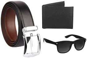 IMPERIOR Men Black Leather Belt (Size: Free size , Pack of 1 )