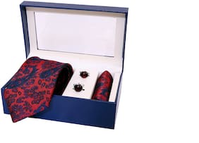 Indie Kingzlay Maroon Floral Design Micro Jacquard Tie;Pocket square and Cufflink Set for Men (Pack of 3)