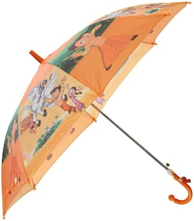 Indo Cartoon Characters Umbrella for Kids Fashion Multi Color with Whistle