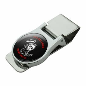 It's All Good In My Hood Grim Reaper Chrome Metal Money Clip