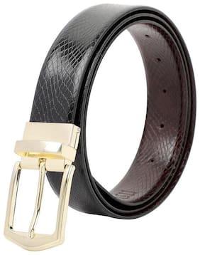 ITSYOR Men Black & Maroon Leather Belt (Size: 40 , Pack of 1 )