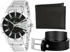 Jack klein Belt And Wallet With High Quality Day And Date Working Metal Analogue Wrist Watch