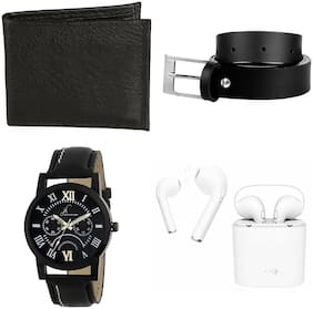Jack Klein Combo Of Wallet;Belt;Watch & Bluetooth With Charging Case