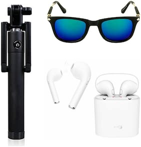 Jack Klein Combo Of Selfie Stick;Sunglasses & Bluetooth With Charging Case