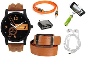 Jack Klein Combo of Brown Strap Stylish Watch;Aux Cable;OTG;Brown Belt;Earphone And Selfie Stick(Assorted Colours)