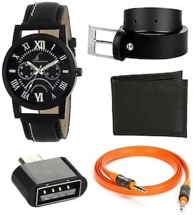Jack Klein Combo of wallet and belt with Free Black Dial Watch For Men + Aux Cable + OTG Cable