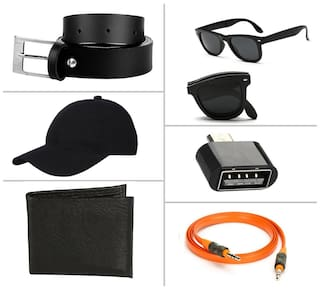 Jack Klein Combo of Black Belt, Wallet, Foldable Sunglass, Otg, Aux Cable And Stylish Cap at Just Rs. 449 (MRP 1999)