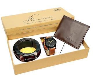 Jack Klein Gift Box Combo of Stylish Round Black Dial Brown Strap Quartz Analog Wrist Watch, Wallet And Belt