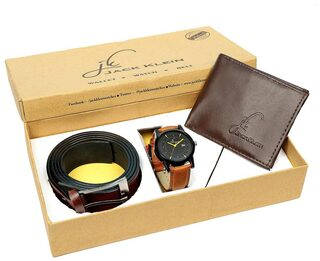 Jack Klein Gift Box Combo of Stylish Round Black Dial Brown Strap Quartz Analog Wrist Watch, Wallet And Belt