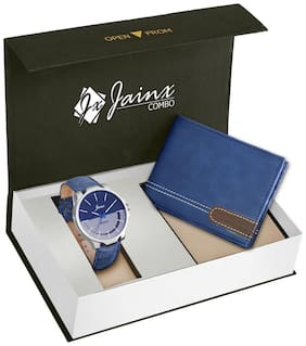 Jainx Multi Color Dial Analog Watch & Blue Leather Wallet Combo For Men & Boys - JWC919