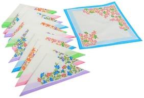 JARS Collections Women Cotton Handkerchief - White ( Set of 12 )