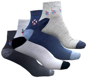 JARS Collections Multi Cotton Ankle length socks ( Pack of 4 )