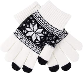 JARS Collections Men Wool Glove - White