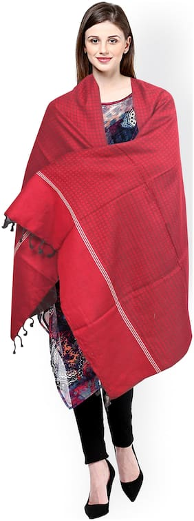 JARS Collections Women Wool Shawl - Red