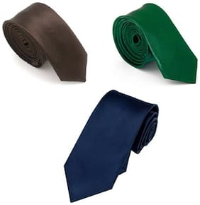 JARS Collections Combo of Navy Blue ,Green & Brown Neck Tie