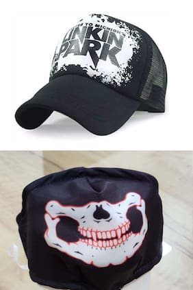 JARS Collections Stylish Half Net cap with Printed Mask Free
