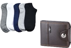 JARS Collections 5 Pair of Ankle Socks with 1 Wallet Free