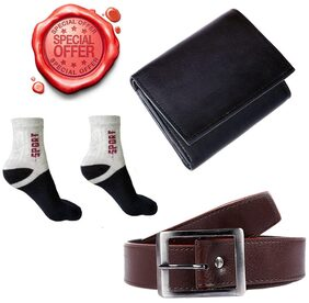 JARS Collections Gift Set Combo of Belt;Wallet and 1 pair of Ankle Socks