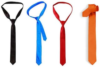 JARS Collections Combo of Royal Blue, Red , Black & Orange Neck Tie
