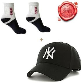 JARS Collections Combo of NY Cap and 1 pair of Ankle Socks(Assorted)
