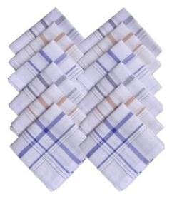 Jars Collections Set Of 12 Checked Cotton Hankerchief